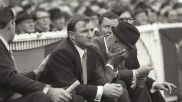 Despair is etched on the face of Bob Rose as Collingwood is toppled by Carlton in the 1970 grand final.