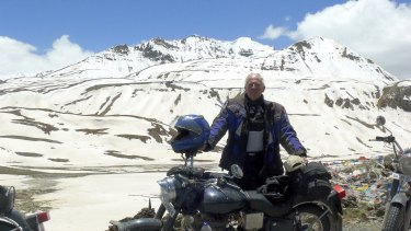 No mountain high enough: Robert Crick at Baralacha Pass in the Himalayas, 5000 metres above sea level.