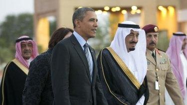Divisions over Middle East policy: Saudi Arabia's Crown Prince Salman bin Abdulaziz Al Saud escorts Barack Obama to his meeting with Saudi King Abdullah at Rawdat Khuraim.