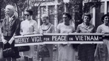 Protesting Vietnam war...Margaret Holmes (third from left).