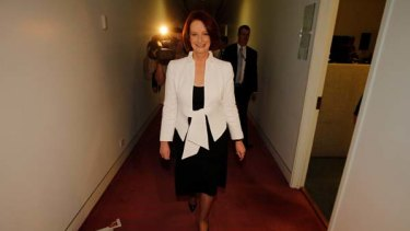 Let's get to work ... the Prime Minister Julia Gillard heads back to her Parliament House office.
