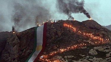 Iraqi Kurds celebrating their solar new, Nowruz, in northern Iraq.