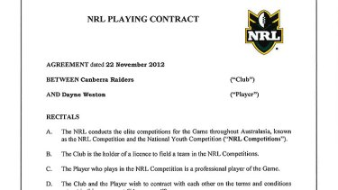 An excerpt of the contract.
