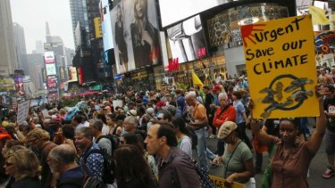 Organisers estimated some 310,000 people, including United Nations Secretary-General Ban Ki-moon and former US vice-president Al Gore joined the People's Climate March.