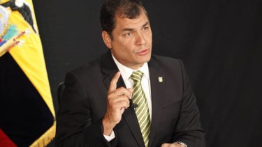 """Rafael Correa ... hit out at the British government for its """"contradictions""""."""