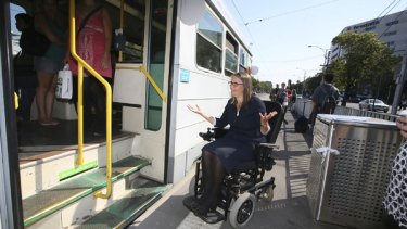 Wendy Brooks can't access the trams that stop across the road from her work or near to her Port Melbourne home.