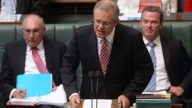 Immigration Minister Scott Morrison during question time at Parliament House.