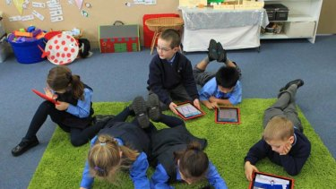 Drills and skills ... pupils at St Luke's Catholic Primary School in Revesby.