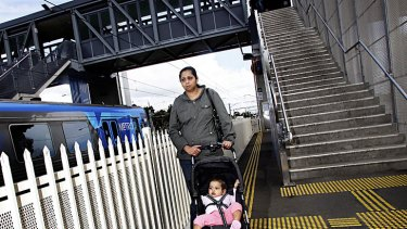 Shanika Dannangoda has in the past carried her pram down steep stairs when the lifts at Laverton station were out of order.