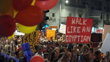Low-cost crusade ... demonstrators march in Tel Aviv.