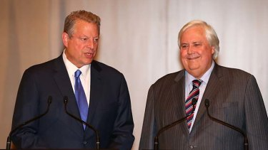 Odd couple: Palmer United Party leader Clive Palmer and former US Vice President Al Gore during a joint press conference in the Great Hall of Parliament House in Canberra.