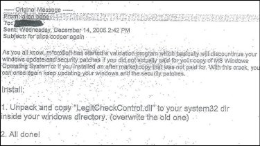 The email allegedly explaining how to commit piracy.