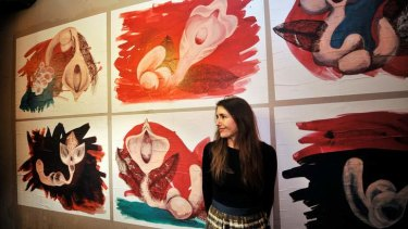 Patricia Piccinini with her artwork at the launch of Room To Create at Bakehouse Studios.