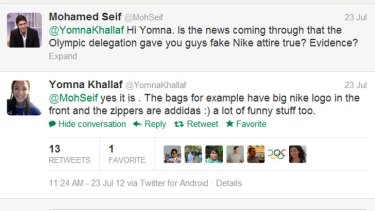 Yomna Khallaf's tweet on the fake Egyptian uniform she was given.