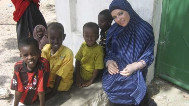 Imogen Bailey at a Mogadishu school in <i>Go Back To Where You Came From</i>.