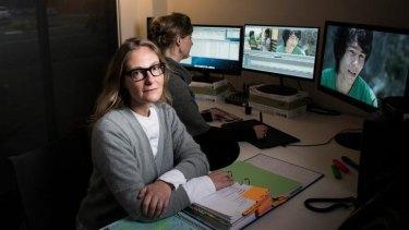 In the editing suite ... Oscar winning filmmaker Eva Orner with editor Annabelle Johnson.
