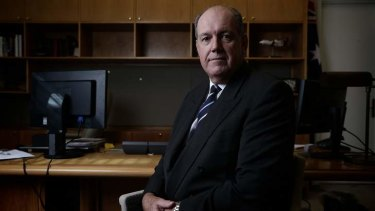 Defence Minister Senator David Johnston, in his Parliament House office.