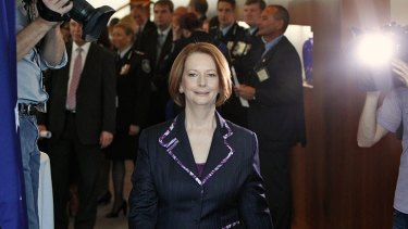 Brief affair ... Julia Gillard's meeting with Tony Abbott on asylum policy lasted just 15 minutes.