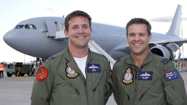 "Pilots from No. 33 Squadron, Squadron Leader Craig ""Fish"" Whiting (left) with Squadron Leader Paul ""Wombat"" Bryan, stand proudly in front of the new KC-30."