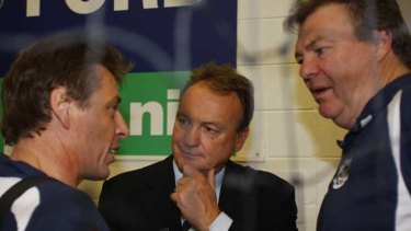 Neil Balme, right, with former Geelong coach Mark Thompson and CEO Brian Cook.