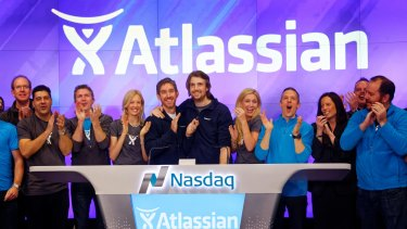 Atlassian co-founders Scott Farqujar (left) and Mike Cannon-Brookes (right) at the Nasdaq listing in 2015: Shares in Australia's biggest tech export hit a record this week.