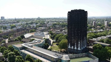 London's Grenfell Tower after the blaze in June.