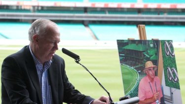 Farewelled ... Jim Maxwell speaking at the SCG memorial event.