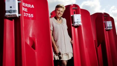Convenience ... Canberra CBD Limited Jane Easthope with the portable urinals planned for the city.