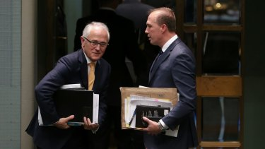 Prime Minister Malcolm Turnbull and Immigration Minister Peter Dutton leave question time on Thursday.