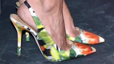 Amal's Oscar de la Renta floral heels.