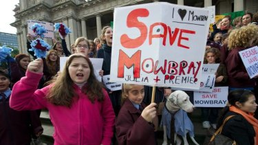 End of an era: Mowbray students protesting at Parliament when their school closed.