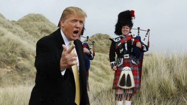 Skirls and skirmishes ... Donald Trump at the Menie estate, where he plans to build a golf course.