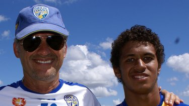 Gold Coast United coach Miron Bleiberg with the club's 17-year-old captain Mitch Cooper.