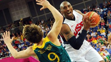 Point guard Matthew Dellavedova locks horns with US star Kobe Bryant at the 2012 Olympics.