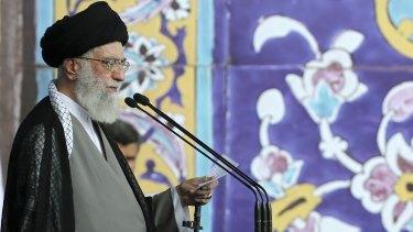 Supreme Leader Ayatollah Ali Khamenei giving a sermon during the Eid al-Fitr prayer in Tehran on Saturday.