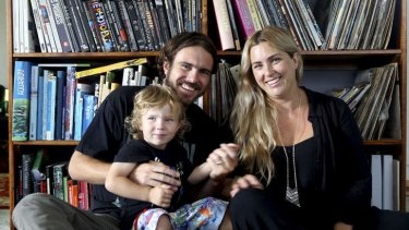 Rome Torti with his wife Rachel and son Ryder at their home in Miami on the Gold Coast.