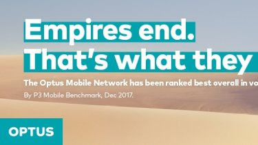 The advertisement Telstra took Optus to court over.