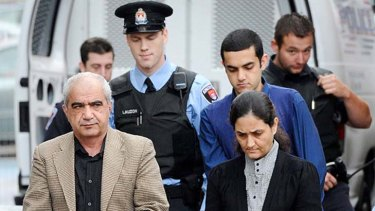Accused  ... Mohammad Shafia, left, with his son Hamed, in the dark blue shirt, and Mohammed Shafia's second wife Tooba Mahommad Yahya.