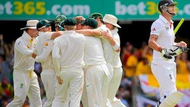 Australia celebrate the dismissal of England batsman Kevin Pietersen.
