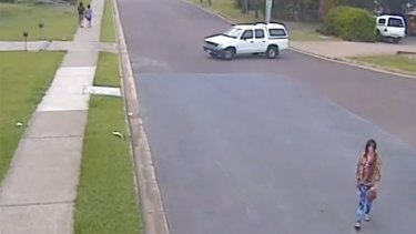CCTV cameras captured Constance Cafarella, 23, crossing Smith Street in Redbank on Sunday. Photo: Queensland Police Service.