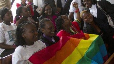 Members of Uganda's gay community celebrate the decision.