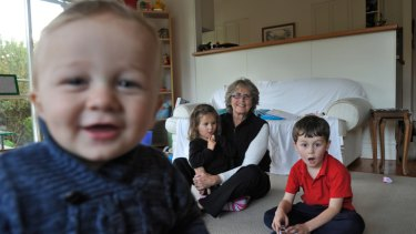 Noella Steinfort and her grandchildren, Rory, 1, Maggie, 3, and Liam, 5.
