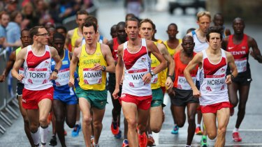 Steven Way leads the marathon.