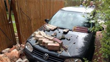 A damaged car in Moorabbin.