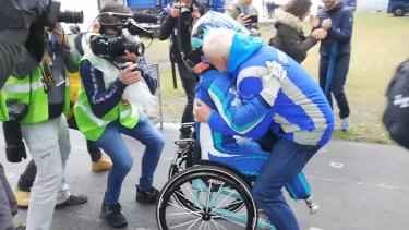 Double amputee Billy Monger celebrates his victory in the EuroFormula Open's Pau Grand Prix.