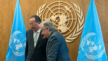 North Korean Foreign Minister Ri Yong-ho, left, with UN Secretary-General Antonio Guterres after a photo call in New York.
