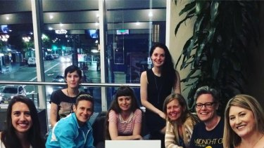 The organisers of the March On Sydney. From right to left Mellisa Ayre, Zoe Burrell, Dr. Mindy Freiband, Laura La Rosa, Kate Taylor, Rebecca Turnbow, Elizabeth Cage, Bethany Fackler