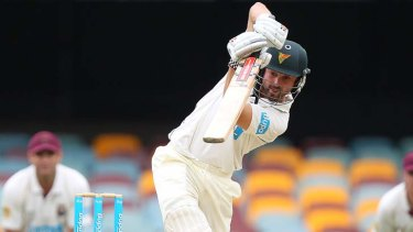 Cowan of the Tigers bats during day three of the Sheffield Shield match between the Queensland Bulls and the Tasmania Tigers at The Gabba on March 18, 2012 in Brisbane, Australia.