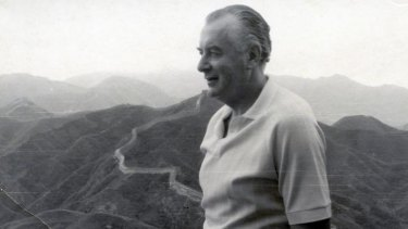 Bold move: Gough Whitlam stands on the Great Wall during his 1971 visit to China.