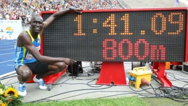David Lekuta Rudisha of Kenya celebrates the victory and the new world record in the men's 800m.